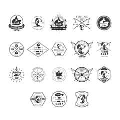 Fishing Retro Design Insignias Logotypes Set. Vector Elements Illustrations.
