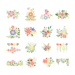 Flowers Icon Set in Trendy Flat Style