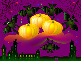 Greeting card with funny bats celebrating Halloween, vector cartoon image.