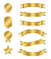 Gold ribbons and badges, illustration