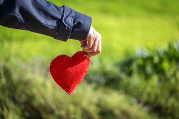Close-up of hand holding Red heart