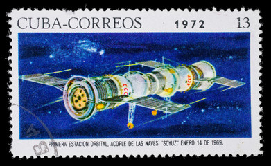"CUBA - CIRCA1972. Postage stamp dedicated docking two spacecraft ""Soyuz"" December 14, 1969"