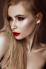 Beautiful sexy blonde girl with sensual lips, fashion hair. Beauty face.