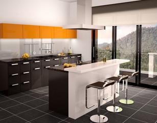 3d illustration of modern black and orange kitchen interior with