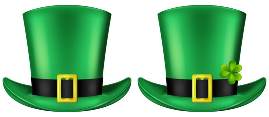 Green Leprechaun's hat, front view. St. Patrick's day design element, vector illustration. Two versions included - with and without a shamrock leaf.