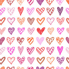 Hand drawn seamless pattern with doodle hearts.