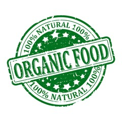 Damaged green round stamped - 100% natural , organic food - vector eps