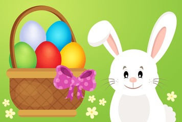 Basket with eggs and Easter bunny 1