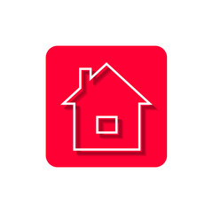 A flat icon for web with the image of the house on a red background.