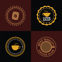 Design coffee logo on colored backgrounds