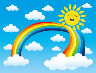 Rainbow and clouds in the blue sky