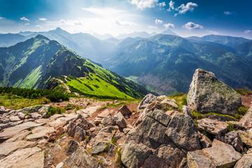 Obraz Trail in the Tatras Mountains at sunny day - fototapety do salonu