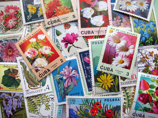 Flower postage stamps background