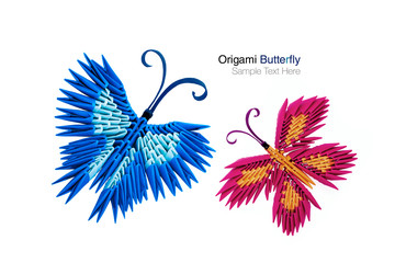Origami butterfly pair