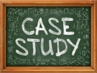 Case Study - Hand Drawn on Green Chalkboard.