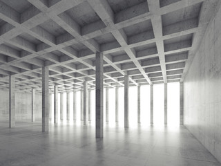 Perspective view of empty concrete room, 3d