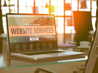 Website Services Concept on Laptop Screen.