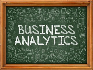 Hand Drawn Business Analytics on Green Chalkboard.