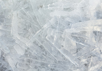 Elongated pieces of ice closeup