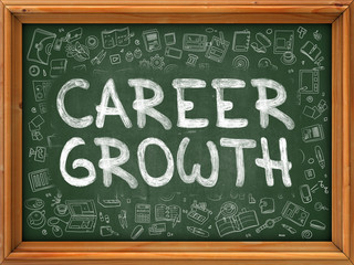 Career Growth Concept. Green Chalkboard with Doodle Icons.