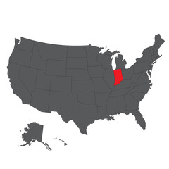 Indiana red map on gray USA map vector