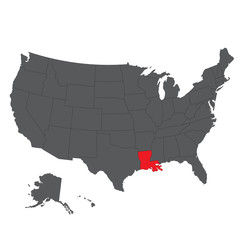 Louisiana red map on gray USA map vector