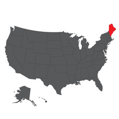 Maine red map on gray USA map vector