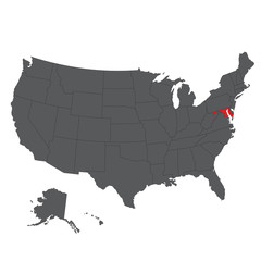 Maryland red map on gray USA map vector