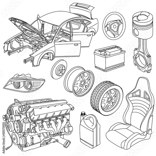u0026quot car parts line drawing icons isometric u0026quot  stock image and