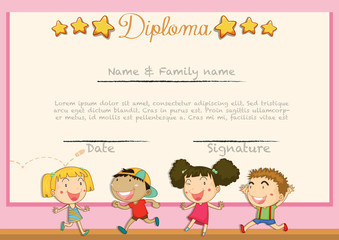 Diploma with children background