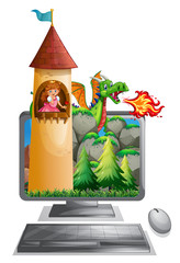 Computer screen with princess in the tower