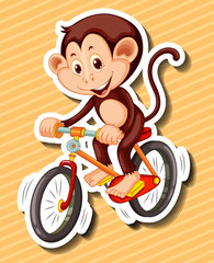 Little monkey riding bicycle