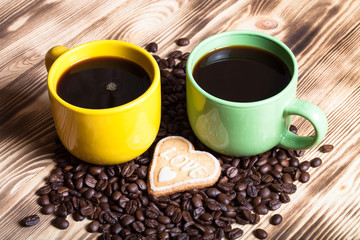 Coffee on wooden table for background. Selective focus