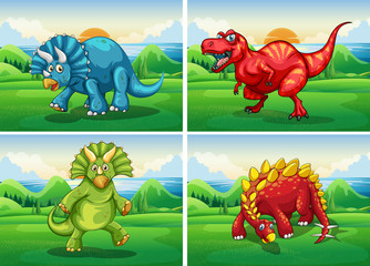 Four dinosaurs standing in the field
