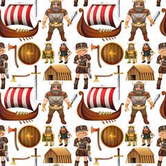 Seamless viking people and ship