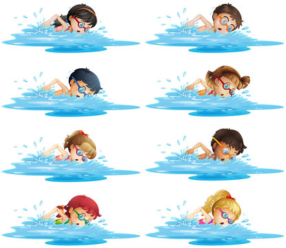 Many children swimming in the pool