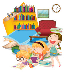 Three girls reading books together