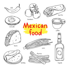 Mexican food. National dishes of Mexico: coffee, vegetables, tequila, churros and other mexican eating. Vector food for mexican menu