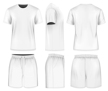 Men short sleeve t-shirt and sport shorts.