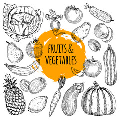 Healthy food collection hand drawn doodle