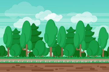 Game seamless summer landscape forest background