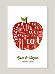 Vegan and raw food apple concept illustration