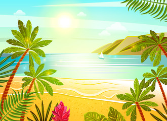 Tropical sea beach flat poster print