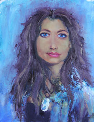 Portrait girl face on blue background painting