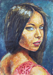 Woman portrait with big eyes and black hair oil painting by Rybakow