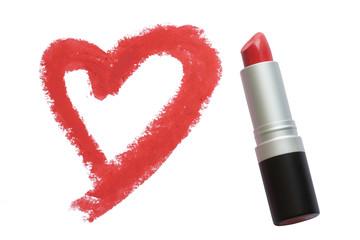 Drawn heart by lipstick