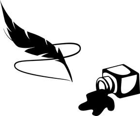 Перо, разлитые чернила