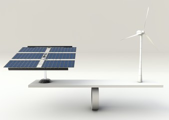Solar panels and wind turbine on scales