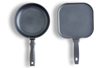 Round and square clean pans or skillets