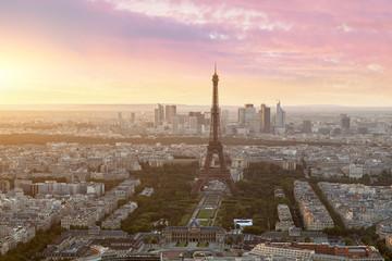 Paris skyline with Eiffel tower at sunset